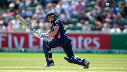 Heather Knight hits out during the ICC Women's World Cup 2017 match between England and Sri Lanka.