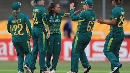Shabnim Ismail is congratulated on the wicket of Hayley Matthews