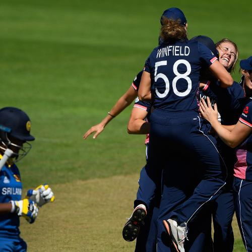 Natalie Sciver celebrates after dismissing Chamari Athapaththu for just one run.