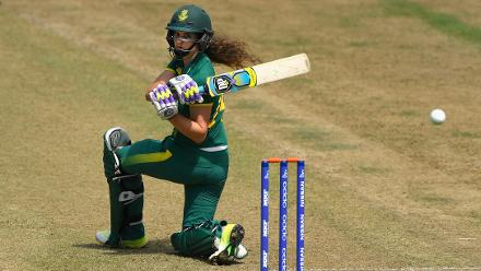 Laura Wolvaardt hits out during the ICC Women's World Cup 2017 match between England and South Africa.