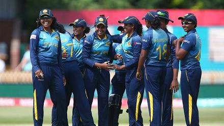 Shashikala Siriwardena celebrates with her teammates after the dismissal of Smriti Mandhana