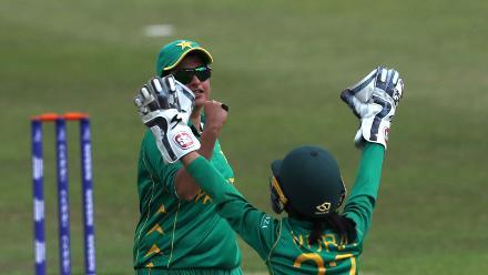 Sidra Nawaz and Sana Mir celebrate the wicket of Rachael Haynes