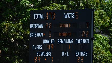 The scoreboard shows England's score after their innings during the ICC Women's World Cup 2017 match.