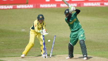 Pakistan wasn't able to gain momentum in their chase, losing wickets regularly.