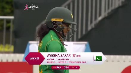 WICKET: Ayesha Zafar is caught off the bowling of Leigh Kasperek for 17