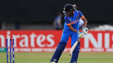 Veda Krishnamurthy has her stumps broken by Ayabonga Khaka