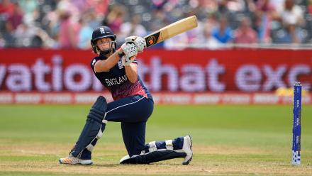 Katherine Brunt hit one six and five fours as she raced to 45 from 43 balls, remaining unbeaten as England got to 259 for 8.