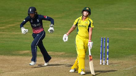 Meg Lanning reacts after being removed by Hartley for 40, leaving Australia in a precarious position.