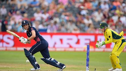 Sarah Taylor played a beautiful innings of 35 before being bowled by Kristen Beams
