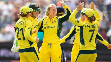 Kristen Beams celebrates the wicket of Sarah Taylor