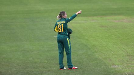 Dane Van Niekerk of South Africa in action during The ICC Women's World Cup 2017 match.