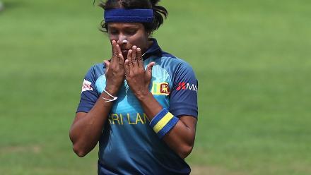 Sripali Weerakkodi of Sri Lanka celebrates the wicket of Lizelle Lee of South Africa.