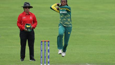 Ayabonga Khaka of South Africa bowls during The ICC Women's World Cup 2017 match.