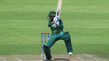 Trisha Chetty of South Africa scores runs during The ICC Women's World Cup 2017 match.