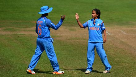 Poonam Yadav got into the act picking up the crucial wicket of Nicole Bolton for 38, just as she was starting to look threatening