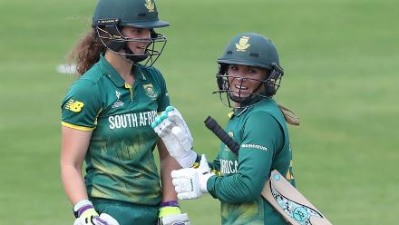 Laura Wolvaardt (L) and Mignon Du Preez of South Africa during The ICC Women's World Cup 2017 match.