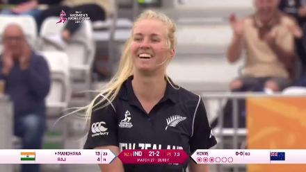 WICKET: Smriti Mandhana is castled by Hannah Rowe for 13
