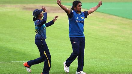 Chamari Athapaththu celebrates the dismissal of Iram Javed