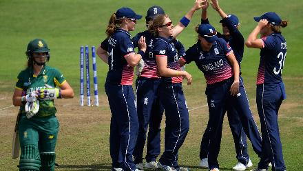 England, however got things back under control picking up the wickets of Laura Woolvardt and Marizanne Kapp in quick succession to wrest the momentum