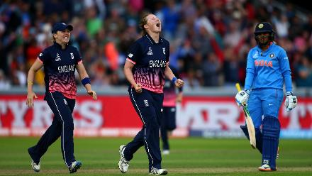 Anya Shrubsole struck crucial blows in the middle overs to wrest momentum back in England's favour.