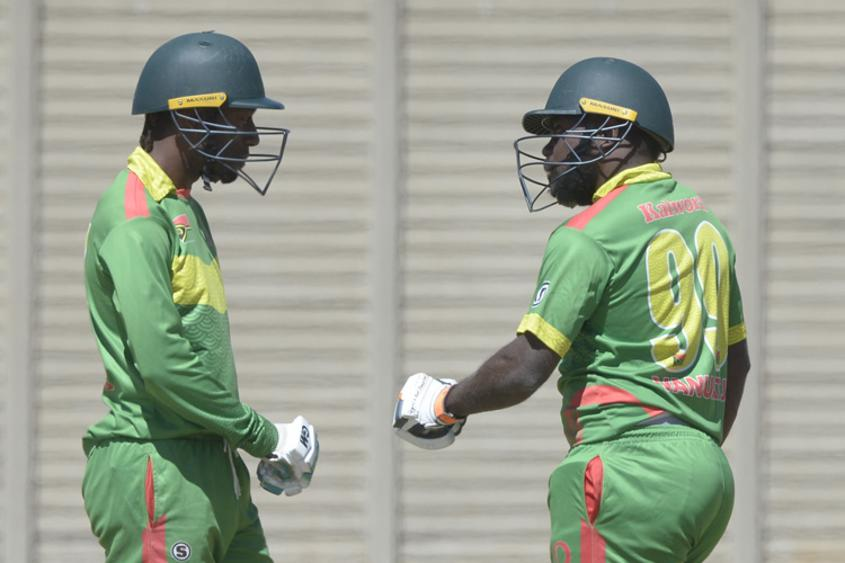 Ronald Tari and Wolford Kalworai of Vanuatu playing against Ghana during day 2 of the 2017 ICC World Cricket League Division 5 South Africa.