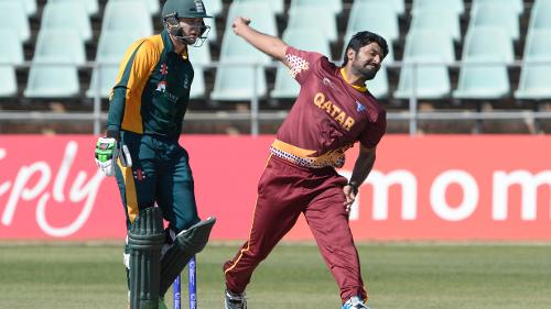 Awais Malik of Qatar during day 3 of the 2017 ICC World Cricket League Division 5 match between Qatar and Guernsey at Willowmoore Park.