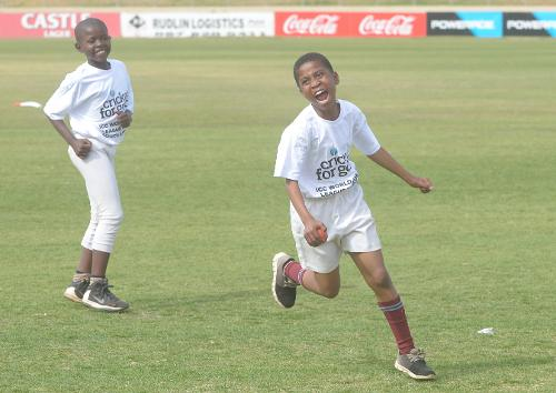 11 year old Hlalefa Kganyago celebrates after taking a wicket during the 2017 ICC World Cricket League Division 5 South Africa's Cricket for good function at Sahara Willowmoore Park