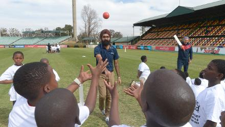 Gurjit Singh of ICC working with the children during the 2017 ICC World Cricket League Division 5 South Africa's Cricket for good function at Sahara Willowmoore Park.