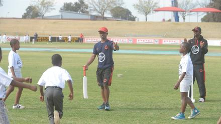 Amish Sarma of Germany and Rishi Pillai of Germany working with children during the 2017 ICC World Cricket League Division 5 South Africa's Cricket for good function at Sahara Willowmoore Park.