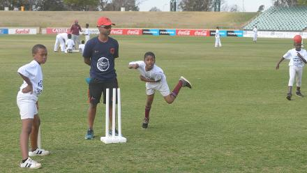 Amish Sarma of Germany working with children during the 2017 ICC World Cricket League Division 5 South Africa's Cricket for good function at Sahara Willowmoore Park.