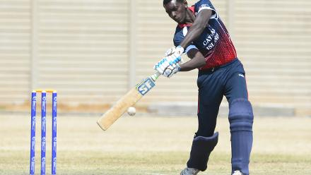 Conroy Wright of the Cayman Islands during day 4 of the 2017 ICC World Cricket League Division 5 match between Germany and Cayman Islands.