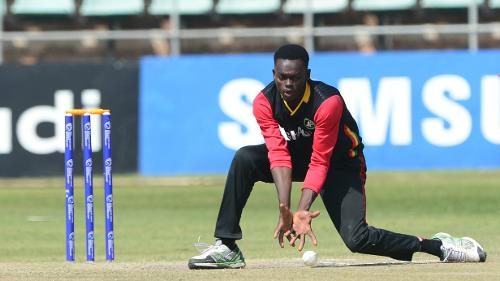 Vincent Ateak of Ghana during day 4 of the 2017 ICC World Cricket League Division 5 match between Ghana and Guernsey.