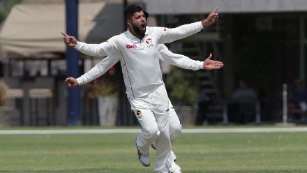 Mohammad Naveed celebrates the dismissal of Namibia's Sarel Burger on the second day of their Intercontinental Cup match in Windhoek on Sunday, 17 September 2017. © ICC/Helge Schutz