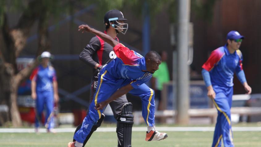 Tangeni Lungameni of Namibia in action against UAE
