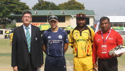 At the toss of the ICC World Cricket League Championship match between PNG and Scotland on 6 October.