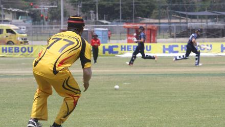 Chad Soper in the field in the ICC World Cricket League Championship match against Scotland on 6 October.