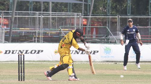 Tony Ura batting in PNG's defeat to Scotland of the ICC World Cricket League Championship.