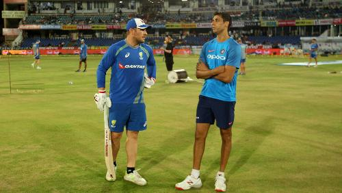 Aaron Finch and Ashish Nehra having a chat as the India-Australia T20I series ended in a tie.