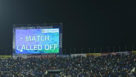 After three inspections, the match was ultimately called off at 8:20pm IST.