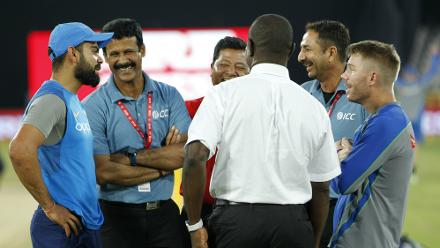 Both captains were in discussion with the umpires and match officials regarding the match situation.