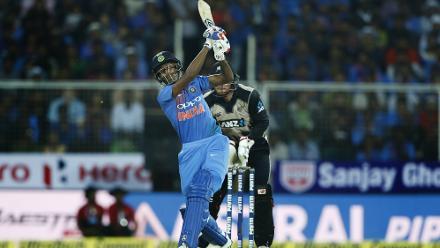 Hardik Pandya struck 14 off 10 balls including one six.
