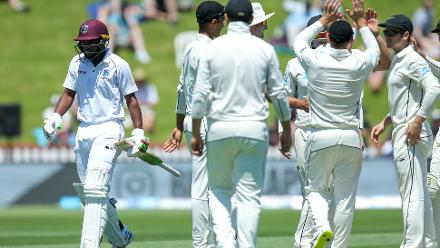 It was a terror debut Test innings for Ambrise who got himself dismissed hit wicket off Wagner for a duck.