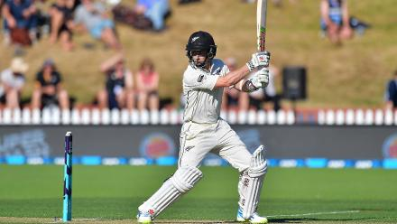 Kane Williamson's run of poor form continued on from the India series with the New Zealand captain edging one off Kemar Roach to Shai Hope.