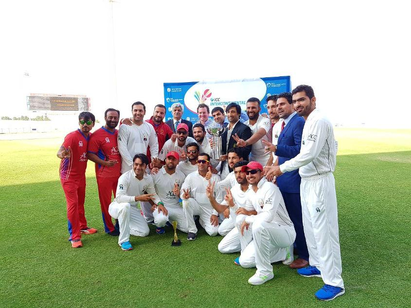 Afghanistan celebrate after winning the ICC Intercontinental Cup.