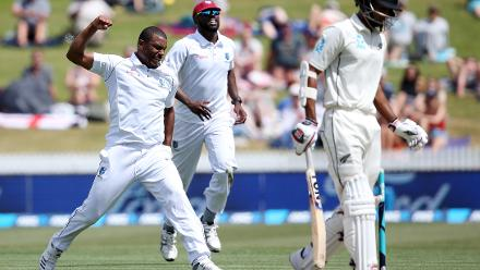 Shannon Gabriel, who accounted for Raval first and de Grandhomme later finished the day with 3 for 83