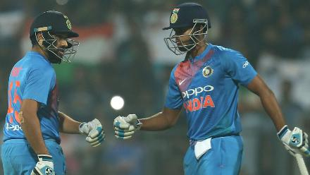 Rohit Sharma (27) and Shreyas Iyer (30) were crucial in building a partnership of 22 runs.
