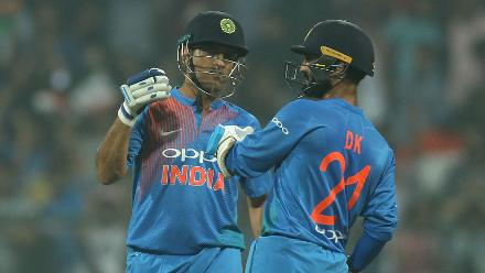 MS Dhoni and Dinesh Karthik put on a 31-run partnership to seal a 3-0 series win for India.