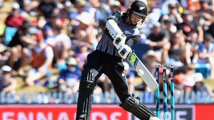 New Zealand posted 187 for 7 with their total bolstered by 25 off the final over by Mitchell Santner and Tim Southee.