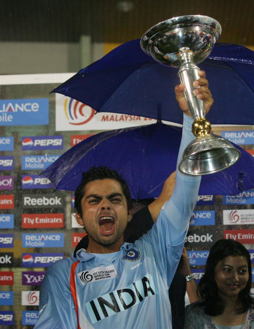 Kohli lifts the trophy in 2008