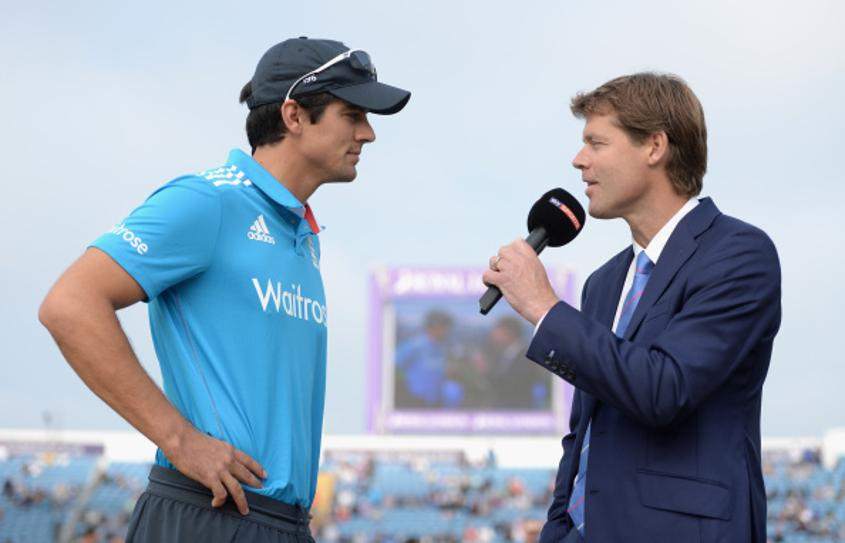 Nick Knight (right) with England batsman Alastair Cook